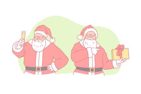 Christmas, new year, holiday, Santa Claus concept 일러스트