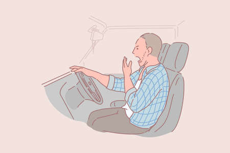 Concepto de conductor de camión soñoliento, borracho, cansado