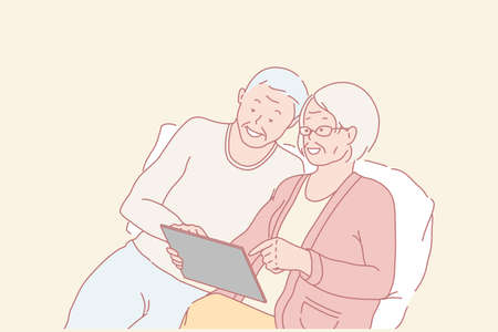 Family, pensioners, education, communication online concept 일러스트