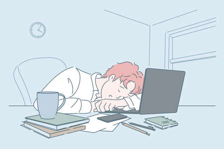 Stress, weakness, fatigue, sleep at workplace concept.
