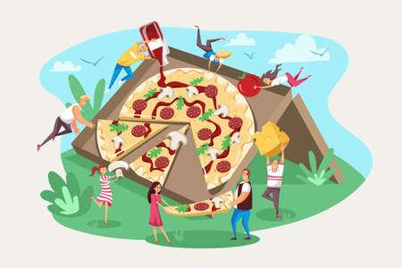 Pizza, fast food, friendship team, hungry concept.