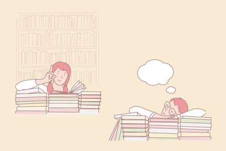 Actitud para estudiar, pasión por aprender y soñar despierto, concepto de tiempo de biblioteca. Chica interesada en libros y chico soñador, interés e indiferencia, preparación para la lección. Vector plano simple Ilustración de vector