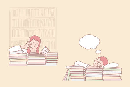 Attitude to study, passion for learning and daydreaming, library time concept. Girl interested in books and dreaming boy, interest and indifference, preparation for lesson. Simple flat vector
