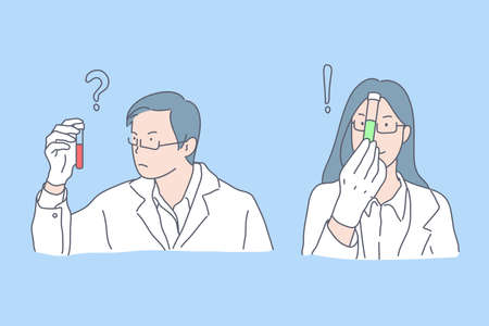 Laboratory test, positive and negative analysis result, medicine concept. Male and female doctors with test-tubes, doubtfulness and confidence, bad and good test. Simple flat vector