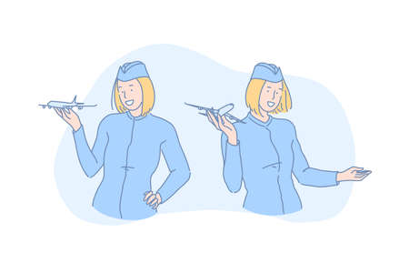 Commercial airlines, travel agency, airway transportation concept. Smiling stewardess in uniform, professional air hostess, flight attendant holding small airplane model. Simple flat vector 일러스트