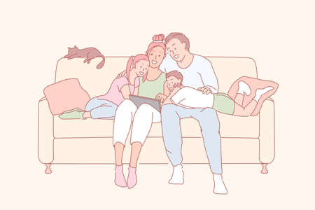 Modern leisure, family relationship, relatives bonding concept. Cheerful children watching movie together with parents, happy couple and little kids using laptop, tablet. Simple flat vector Ilustrace
