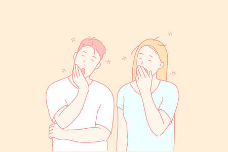 Sleepy people, tired friends, yawning couple concept. Husband and wife gaping, covering mouths with palms. Brother and sister oscitating. Boredom and exhaustion gesture. Simple flat vector
