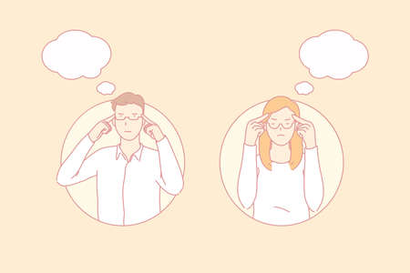 Thoughtful people, important decision, concentrated worker concept. Man and woman focused on considering important solution. Students trying to memorize or recall information. Simple flat vector Illusztráció