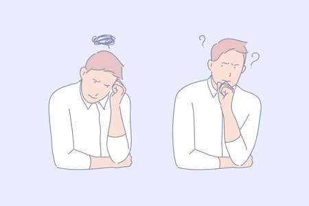 Frustration, confusion, depression concept. Office worker feeling depressed, looking for problems solution. Top manager mental breakdown. Employees professional burnout. Simple flat vector 일러스트