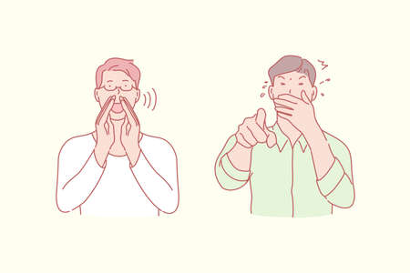 Shouting and laughing men, positive and negative emotion concept. Way to call somebody, scream and chortling, gesticulation, finger pointing, verbal and silent communication. Simple flat vector