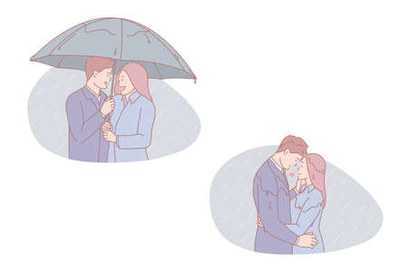 Family walk, romantic date, autumn rendezvous, stroll together concept. Leisure, woman and man in raincoat, people under umbrella, enamored couple walking in rainy weather. Simple flat vector