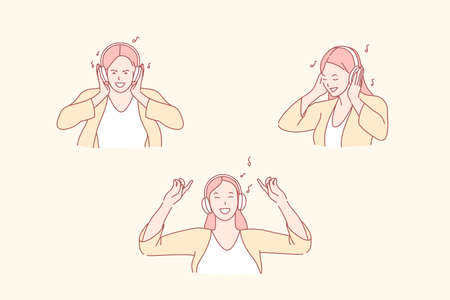 Listening to music, dance and relaxation, enjoyment concept. Humming melody, moving to beat, female music lover, smiling girl with headphones, young woman making dance moves. Simple flat vector