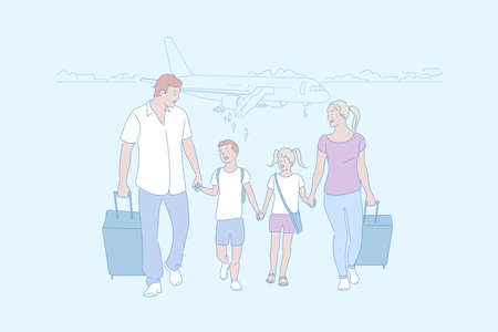 Family trip, travelling, arrival by air concept