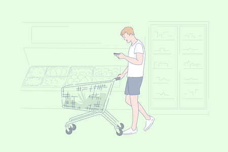 Supermarket shopping, grocery store assortment, product selection concept Illustration