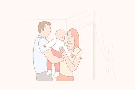 Family life, parenthood, baby care concept
