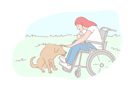 Kindness, homeless animals care, sympathy concept. Compassion and tenderness, pariah-dog affection, disabled young woman petting street dog, wheelchair girl and pooch. Simple flat vector