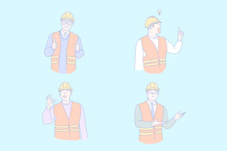 Civil engineer work, project idea, success, positive emotions concept. Building, constructing industry, workers in helmets and uniform, gesticulating men in work clothes. Simple flat vector