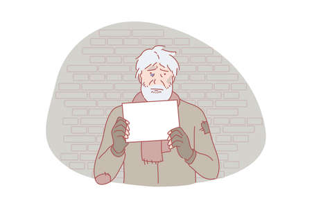 Homeless, poverty, social problem, request concept. Homeless, poor, sad man with request letter. Asking for help jobless, helpless beggar. Dispossessed lonely people social problem simple flat vector.