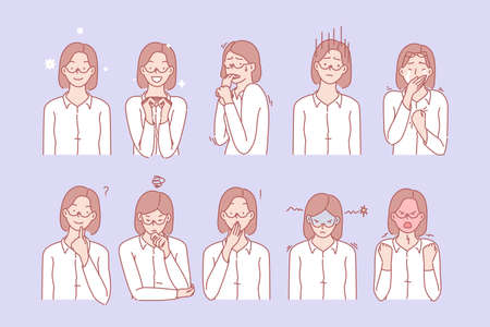 Womans emotions and facial expressions