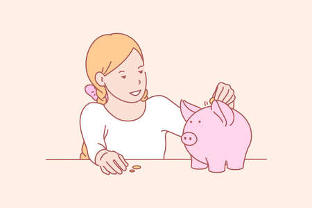 Money, savings, childhood, skill concept Vektorové ilustrace