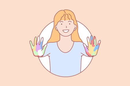 Amity, learning, hands, play concept. Smiling young girl with open colorful hands. Happy schoolgirl with painted arms learning friendship play. Friendliness, integration lifestyle simple flat vector. Vector Illustratie