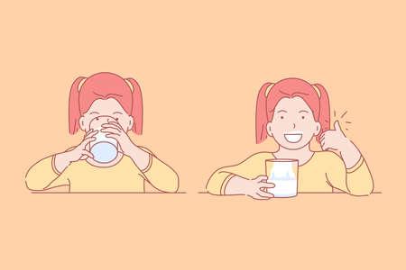 Alimentos, salud, infancia, concepto de dieta. Niña feliz feliz bebiendo bebida sabrosa, vitamina, natural para el desayuno en preescolar con apetito. Estilo de vida de alimentos saludables para niños. Vector plano simple. Ilustración de vector