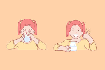 Essen, Gesundheit, Kindheit, Diätkonzept. Erfreut junges glückliches Mädchen, das leckeres, Vitamin, natürliches Getränk zum Frühstück im Vorschulalter mit Appetit trinkt. Gesunder Lebensstil für Kindernahrung. Flacher einfacher Vektor. Vektorgrafik