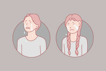 Crying, children, stress, tears concept. Crying, unhappy boy and girl show negative emotion loud. Frustrated with problem pupils in stress burst into tears. Weeping, lamenting teens simple flat vector Illustration