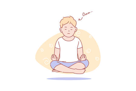Child, levitation, yoga, meditation, health concept. Young boy levitating in meditation. Yoga pose concentration exercise. Thoughtless calm health activity. Internal energy practice simple flat vector.