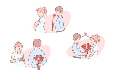 Love, romantic, relation, invitation, set