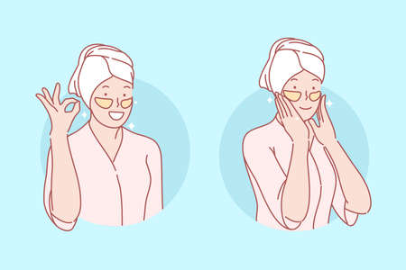 Beauty, skincare, eye patches set concept. Young woman is doing eyes patching. Happy girl cares about skin ann beauty. Korean cosmetic help with wrinkles and black eyes. Simple flat vector