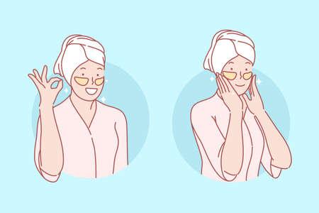 Schönheit, Hautpflege, Augenklappen stellen Konzept ein. Junge Frau macht Augenflicken. Glückliches Mädchen kümmert sich um Haut ann Schönheit. Koreanische kosmetische Hilfe bei Falten und blauen Augen. Einfacher flacher Vektor