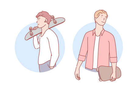 Guys with skateboards set concept