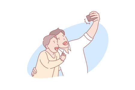 Selfie, fatherhood, fathersday concept