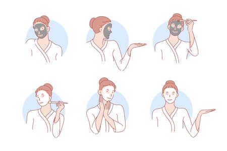 Schoonheid, huidverzorging, masker, cosmetologie set concept