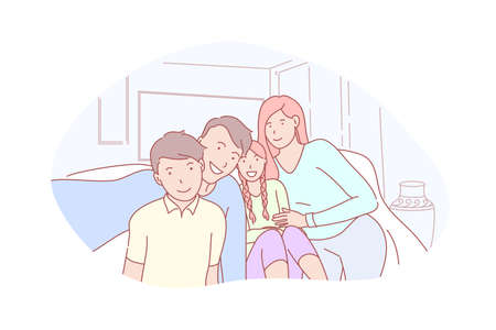 Family, parenthood, childhood, selfie concept Illustration