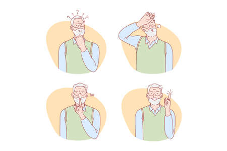 Old age, thinking, idea, silence, relief set concept Ilustracja