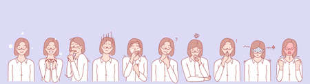 Womans emotions and facial expressions set concept. Illustration or collection showing different emotions of woman. Girls demonstration of positive and negative facial expressions. Simple flat vector. Illustration