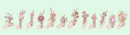 Set of flowers in hands concept. Illustration of bouquets or bunches of flowers, holding by mans or womans hands. Collection of field and garden blossoms gifting by humans hand. Floral design elements Ilustrace