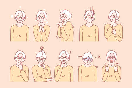 Old age womans emotions and facial expressions Illustration