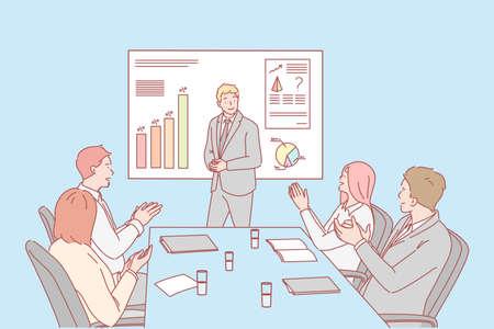 Presentation, business, congratulation, hiring concept Vecteurs