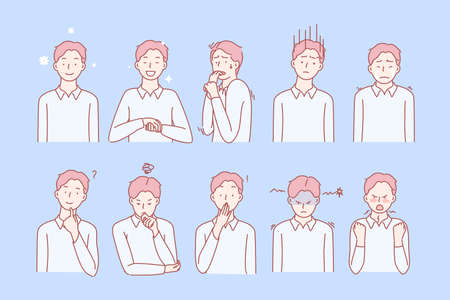 Boys emotions and facial expressions set concept. Illustration or collection showing different emotions of boy. Child demonstrates of positive and negative facial expressions. Simple flat vector