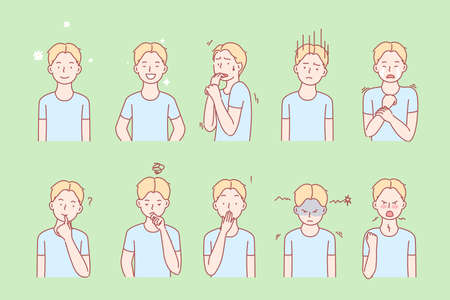 Kids emotions and facial expressions set Illustration