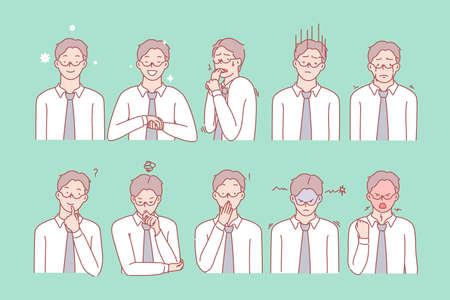 Mans emotions and facial expressions set