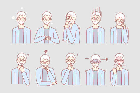 Old age mans emotions and facial expressions