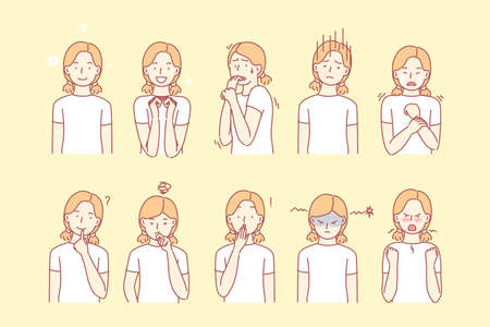 Childs emotions and facial expressions set