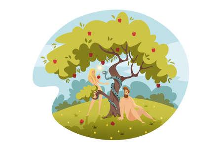 Adam and Eve, original sin, Bible concept Illustration