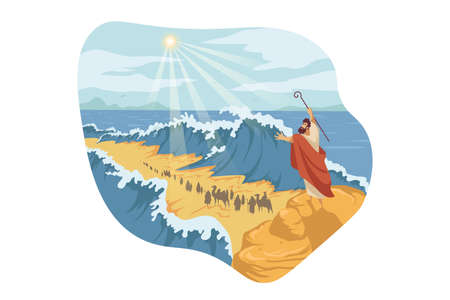 Moses, separation of Red Sea, Bible concept