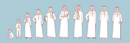 Man muslims life stage set concept. Illustration of arab man in different age from newborn to oldster. Stages of human life collection. Different generations, growing up and aging in cartoon style. Ilustração