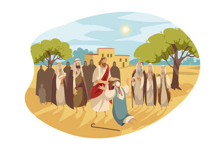 Messiah heals blind man, Bible concept